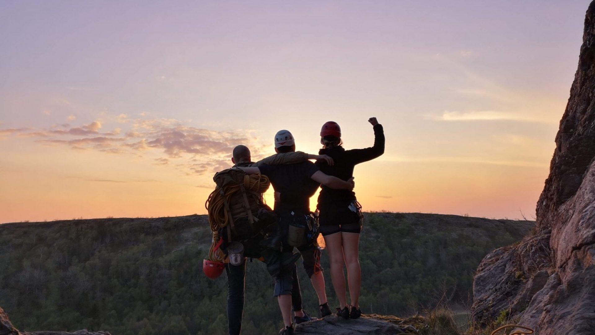 Tre venner på klatretur
