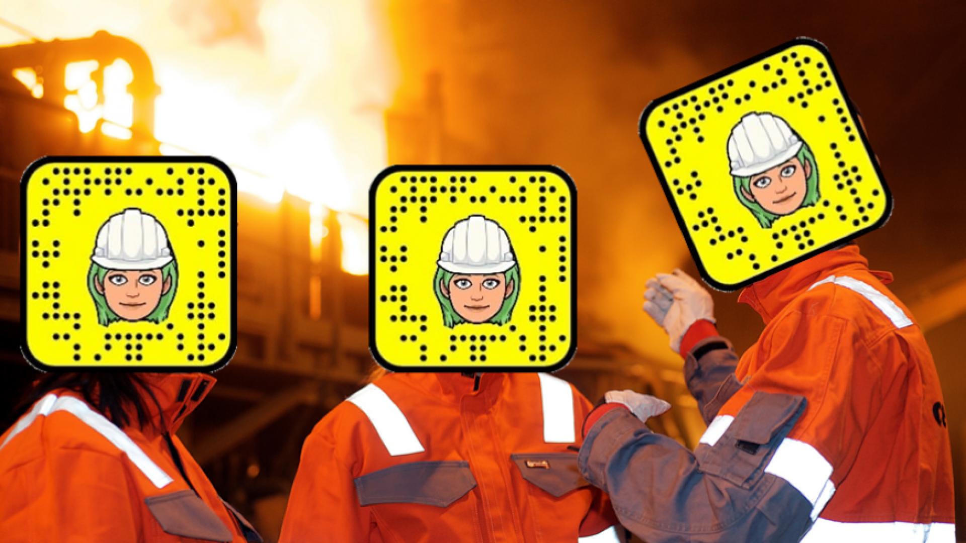 Industriarbeidere med snapchat QR-kode
