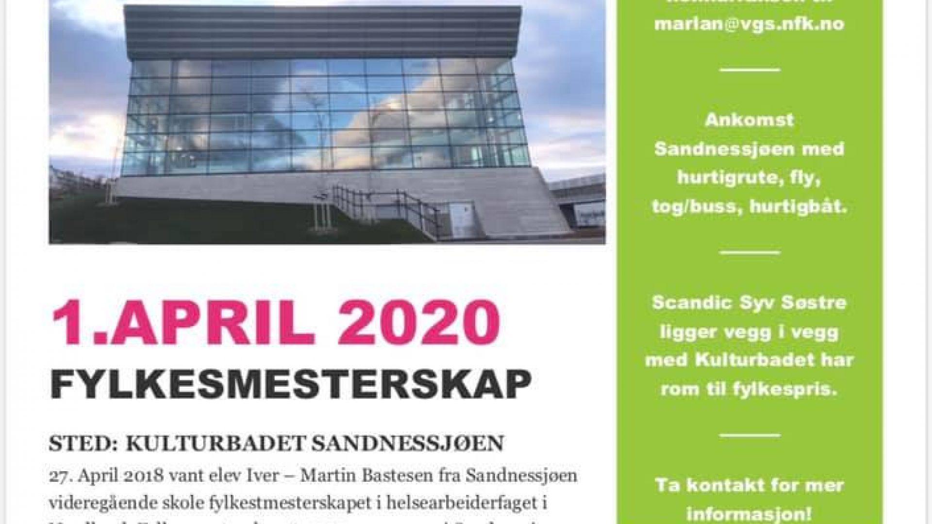 Plakat med informasjon om fylkesmesterskap helsefagarbeid. Bilde av flott bygg med glassflater.