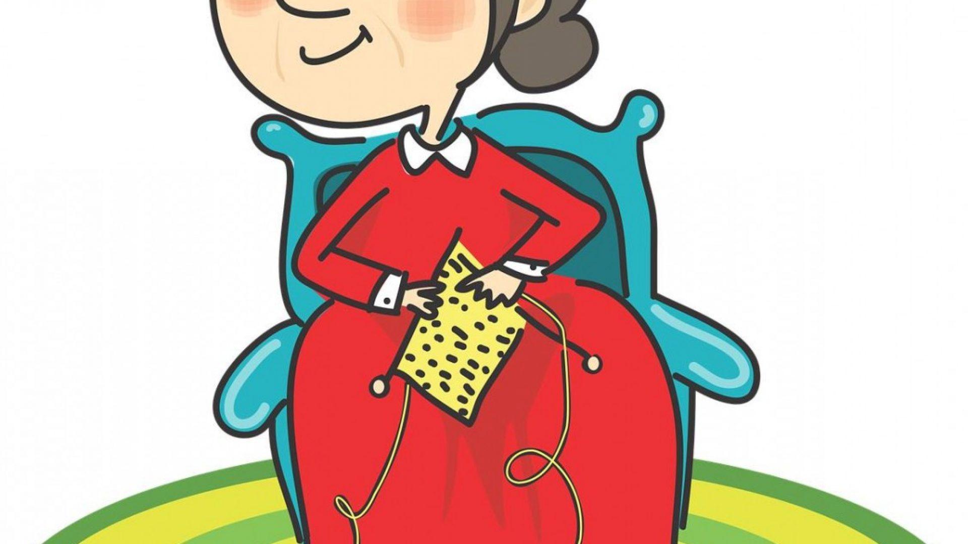 En eldre dame med strikketøy i hånden