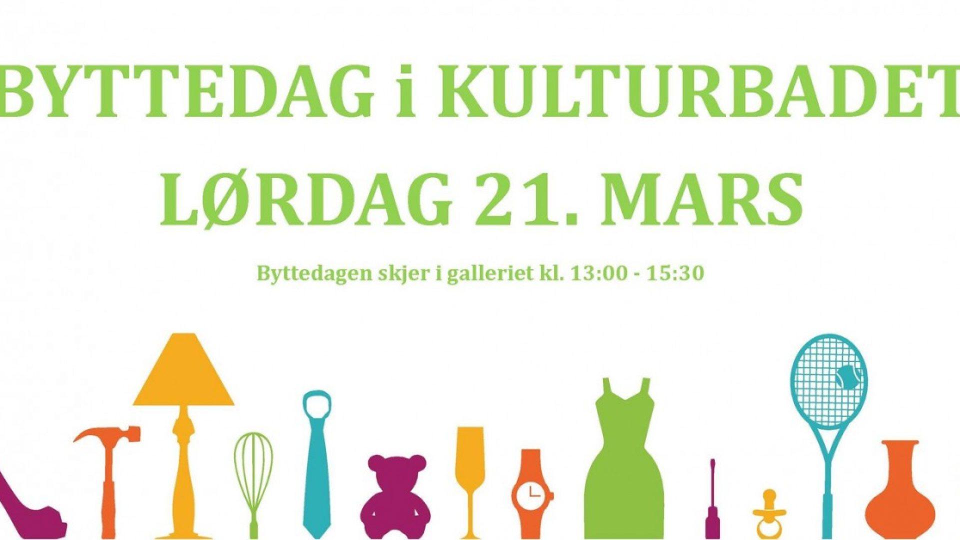Plakat for byttedagen. Et utvalg av verktøy, klær og artikler illustrert.