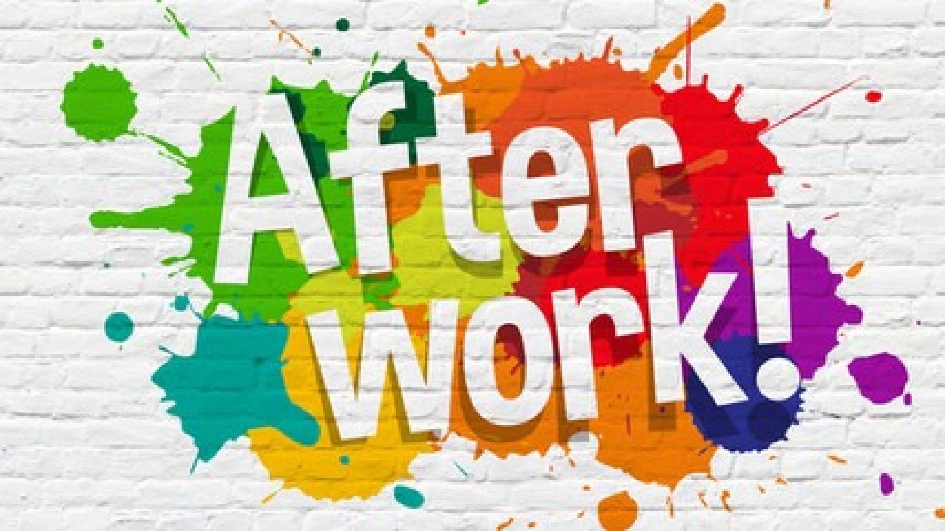 Bilde av fargeflekker og teksten After Work