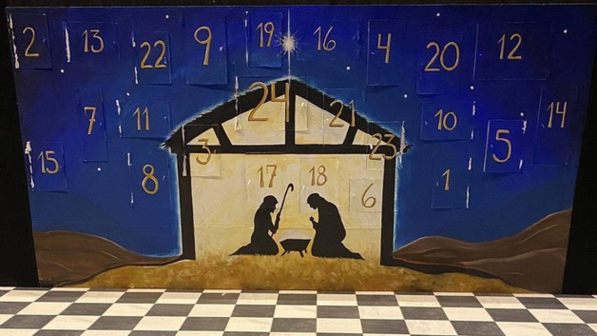 Stor kalender med 24 luker