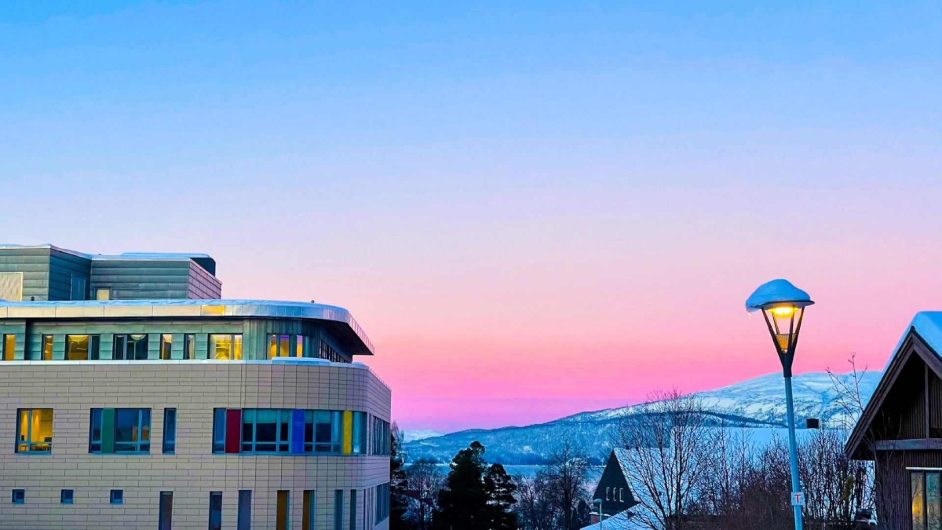 fin rosa himmel over Campus Helgeland